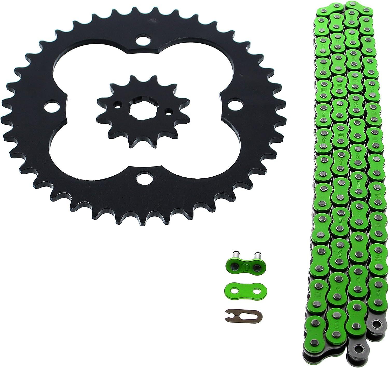 Fits Honda TRX300EX 300EX 300EX 520-86 Green Non O Ring Chain /& Sprocket Black 12//39