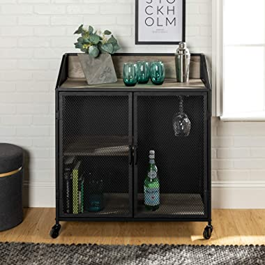 Walker Edison Industrial Wood and Metal Bar Cabinet with Wheels Wine Glass and Bottle Kitchen Storage Shelf, 33 Inch, Grey
