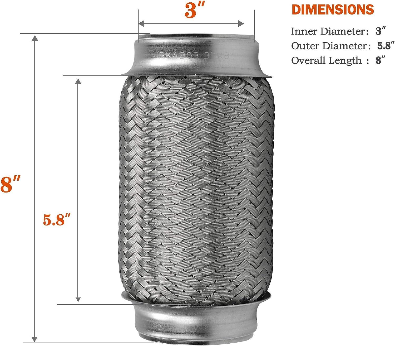 Remarkable Power RK7522-3 x 8 Heavy Duty Stainless Steel Exhaust Flex Pipe 8OL