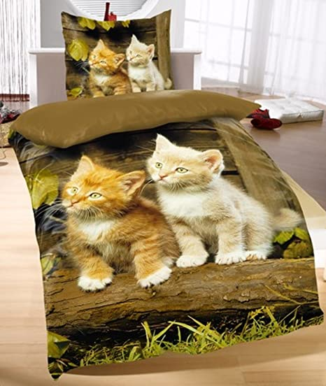 Bettwäsche Katze Katzenmotiv Garnitur 135x200+Kissenbezug 80x80 2tlg Baumwolle