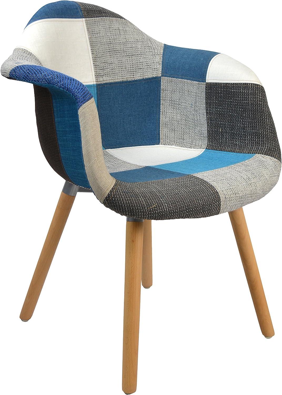 Ts-ideenDesign – Sillónclásico de patchwork, estilo retro de los años 50,silla para salón, oficina, cocina, comedor, asiento de madera, material de colores en tonos azules