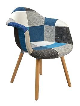 Ts Ideen Design Classique Patchwork Fauteuil Rétro Années 50