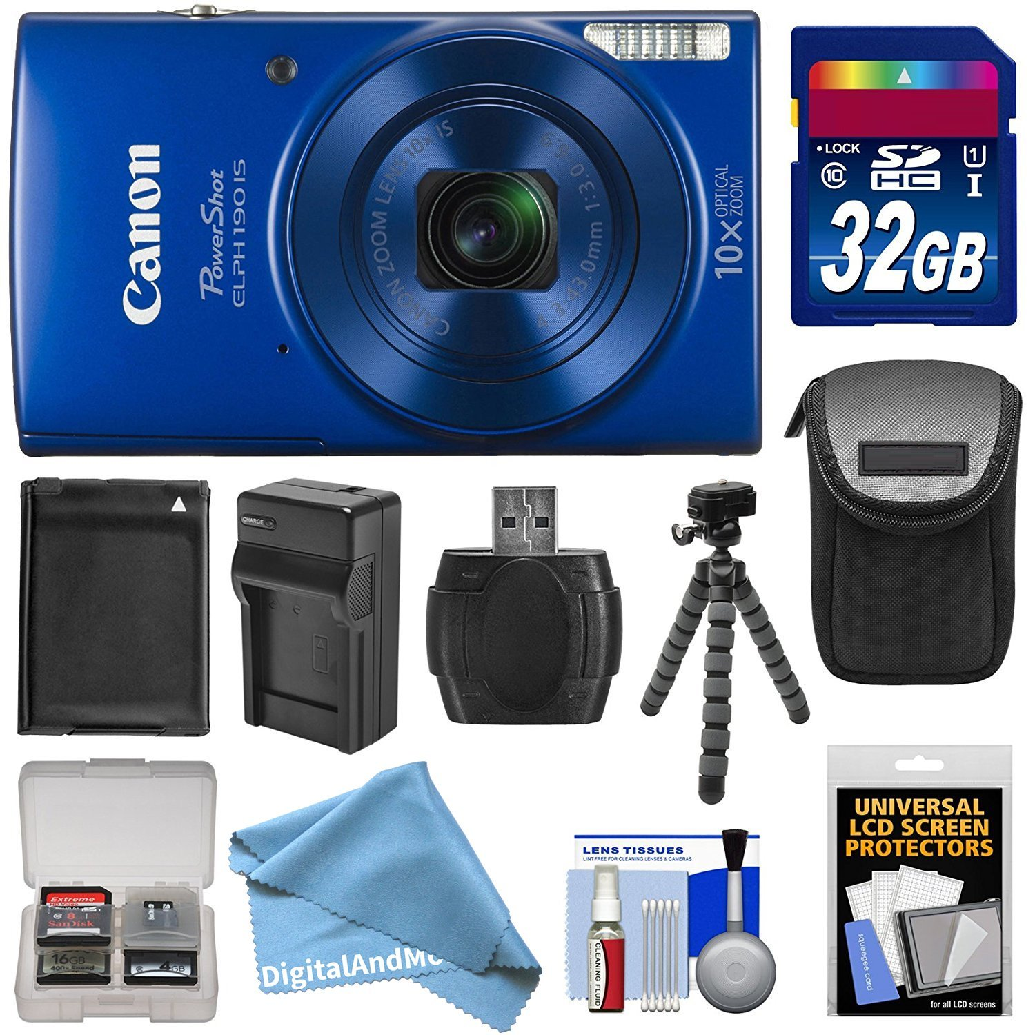 Canon PowerShot Elph 190 IS Wi-Fi Digital Camera (Blue) with 32GB Card + Case + Battery & Charger + Flex Tripod + DigitalAndMore Kit