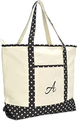 Amazon Com Dalix Personalized Shopping Tote Bag Monogram Black Star Ballent Zippered Letter A Shoes