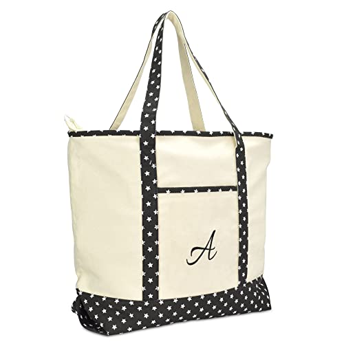 27feea32c DALIX Personalized Shopping Tote Bag Monogram Black Star Ballent Zippered  Letter A