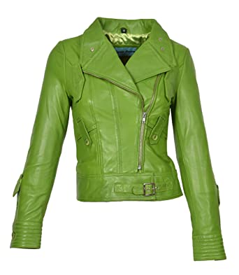 21218fcc37ba Womens Cross Zip Slim Fit Biker Style Genuine Leather Jacket Hetty Lime  Green (X-