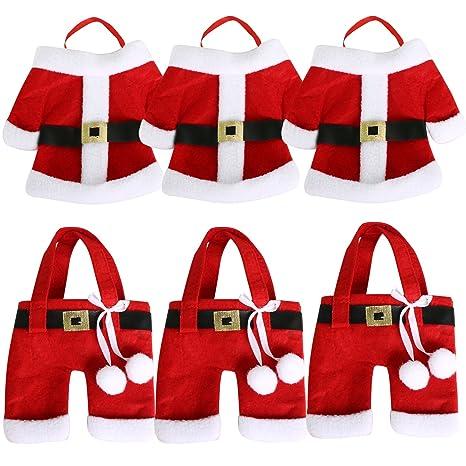 TRIXES Set de 6 Porta-cubiertos para Cena de Navidad Característicos Trajes de Navidad de
