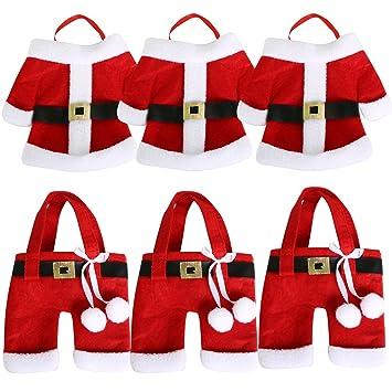 TRIXES Set de 6 Porta-cubiertos para Cena de Navidad Característicos Trajes de Navidad de Santa Claus: Amazon.es: Hogar