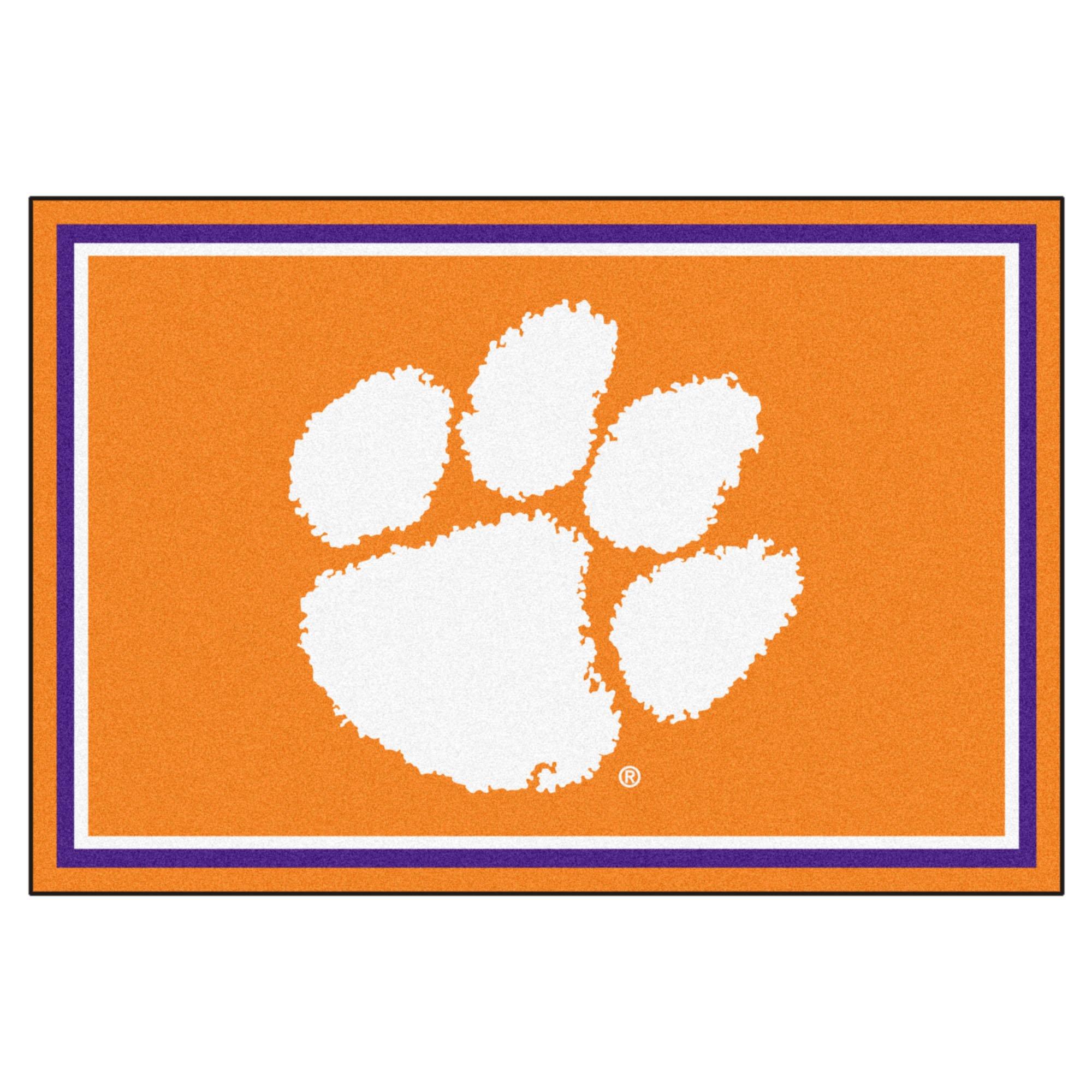 FANMATS NCAA Clemson University Tigers Nylon Face 5X8 Plush Rug