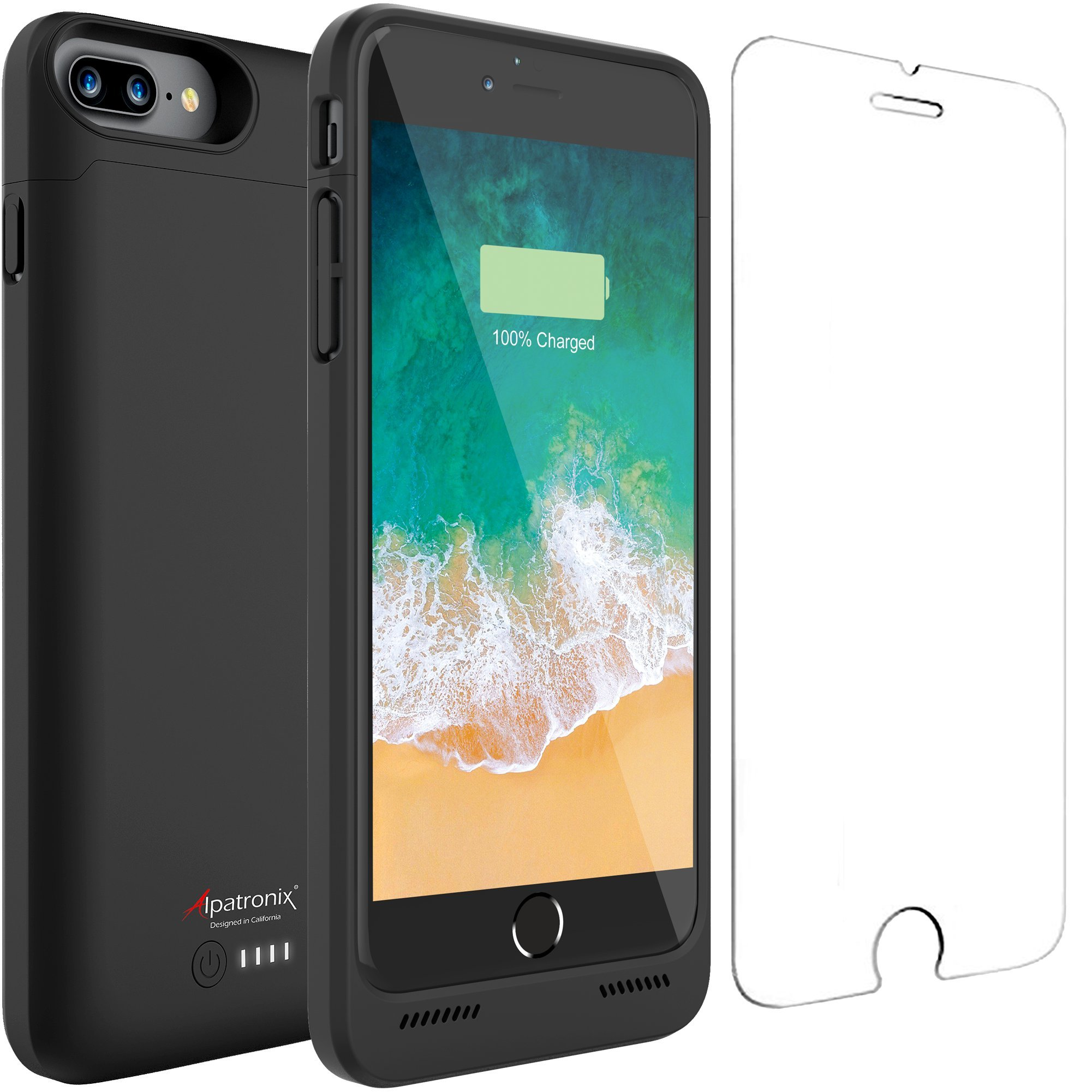 iPhone 7 Plus Battery Case, Alpatronix BX180plus 5.5-inch 5000mAh Slim External Rechargeable Extended Protective Portable Charging Case & Charger Cover for iPhone 7+ [Apple Certified Chip] - Black