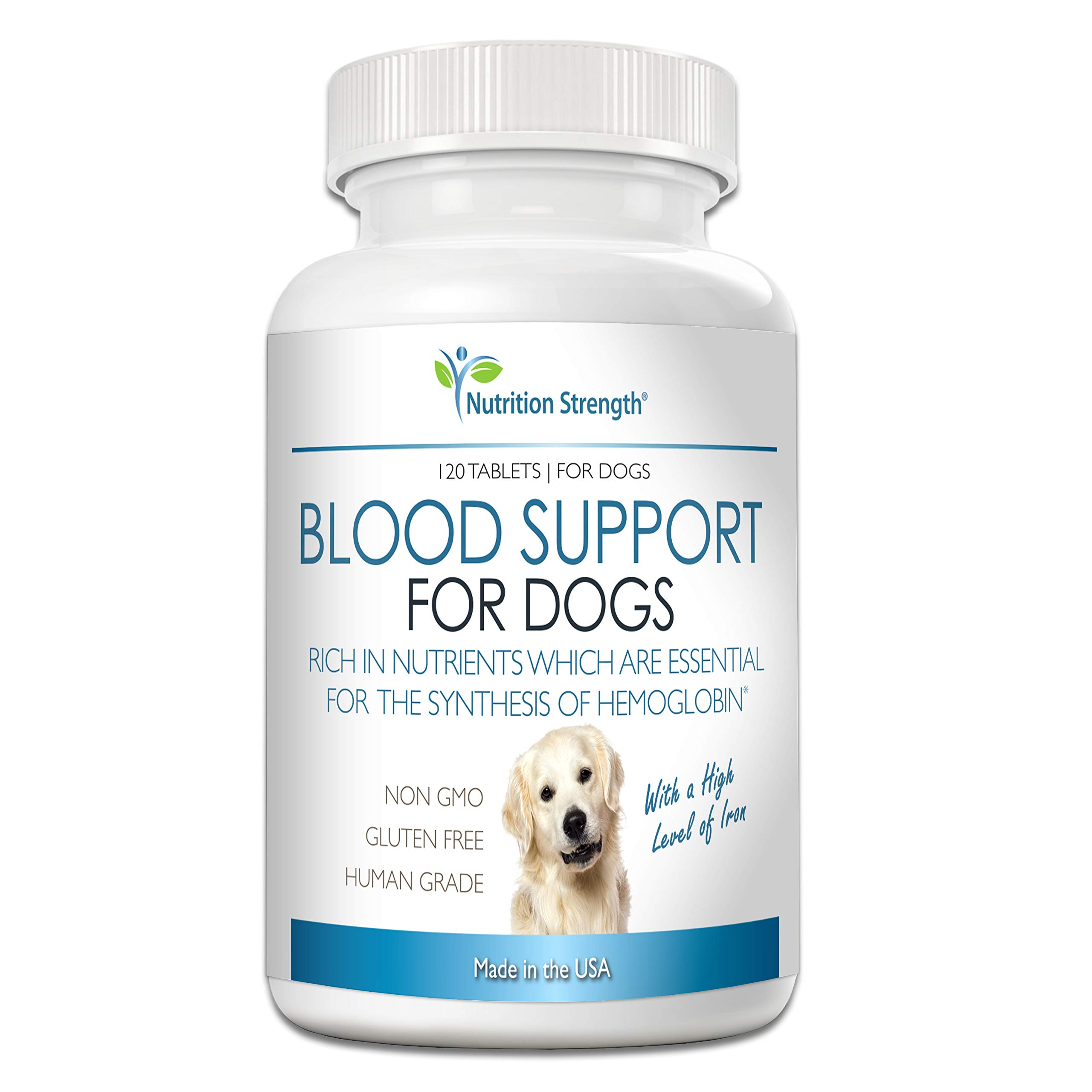 Nutrition Strength Blood Support for Dogs, Supplement for Anemia in Dogs, Promotes Red Blood Cell Health, with a High Level of Iron, Vitamin B12, Organic Spirulina and Purpurea, 120 Chewable Tablets by Nutrition Strength