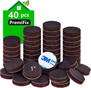 "Non Slip Furniture Rubber Pads 40 Pieces 1"" Anti Slip Furniture Pads Hardwood Stopper Self Adhesive Round Anti Skid Furniture Pads 1/3 inch Thick Furniture Gripper Protector for Hardwood Floor"