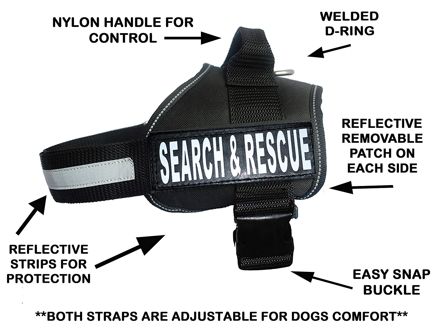 Black Girth 30-42\ Black Girth 30-42\ Service Dog Search & Rescue Harness Vest Cool Comfort Nylon for Dogs Small Medium Large Girth Purchase Comes with 2 Search & Rescue Patches. Please Measure Your Dog Before Ordering.