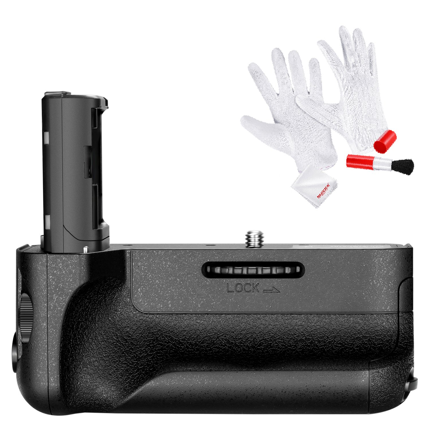 Neewer VG-C2EM Replacement Vertical Battery Grip, Works with NP-FW50 Battery for SONY A7 II and A7R II Cameras, Includes 3-In-1 Cleaning Kit (Anti-static Gloves, Lens Brush, Microfiber Cleaning Cloth) by Neewer
