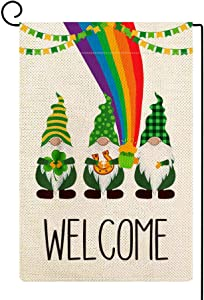 ORTIGIA Welcome Gnome St Patrick's Day Garden Flag Burlap Vertical Double Sided 12.5 x 18 Inch Farmhouse Rustic Spring Leprechaun Horseshoe Beer Shamrock Rainbow Home Decor for Yard Lawn Patio Outdoor