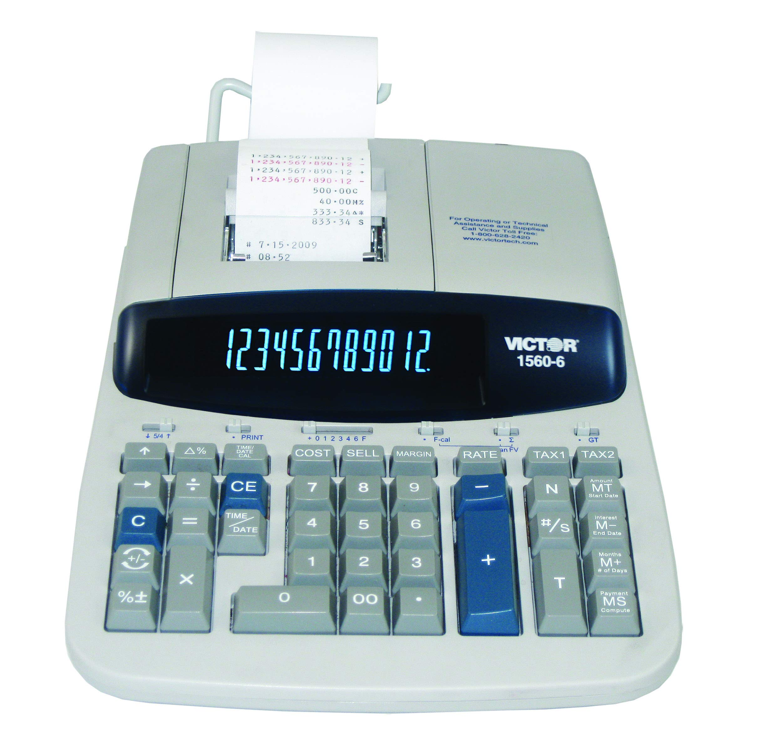 Victor 1560-6 12 Digit Heavy Duty Commercial Printing Calculator with Large Display and Loan Wizard by Victor