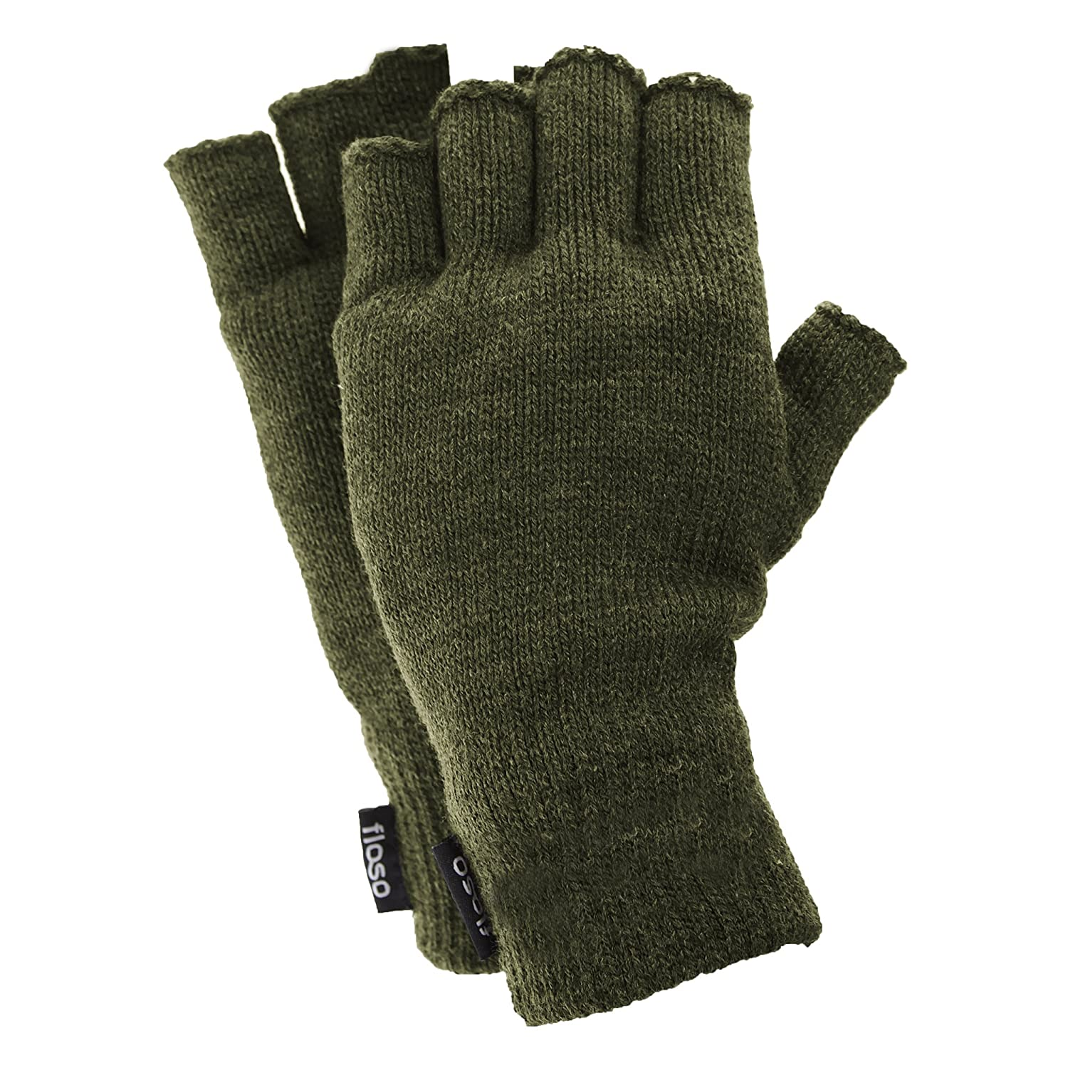 FLOSO Mens Thinsulate Thermal Fingerless Gloves (3M 40g) (One Size Fits All) (Black) UTGL355_5