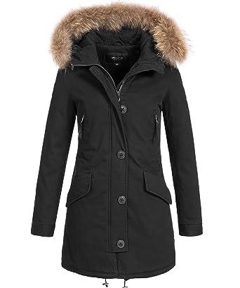 5fc58b008f0e SOVENTUS Damen Jacke Parka Winter-Jacke Echtfell Fell Echt-Fellkapuze  Mantel  Amazon.de  Bekleidung