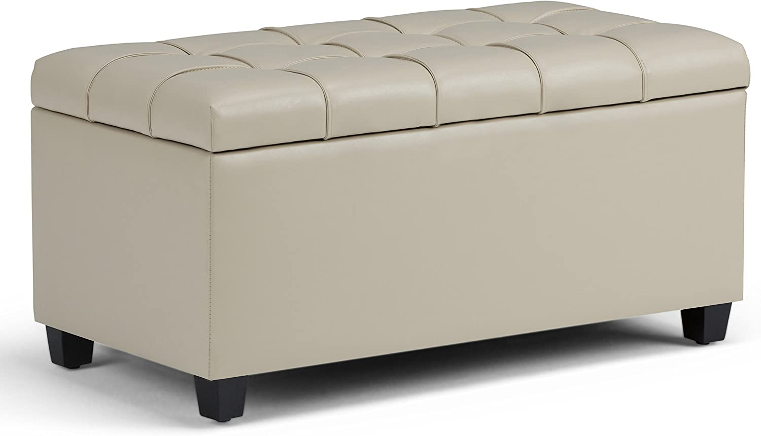 Simpli Home AXCOT-258-CR Sienna 34 inch Wide Traditional Rectangle Storage Ottoman Bench in Satin Cream Faux Leather