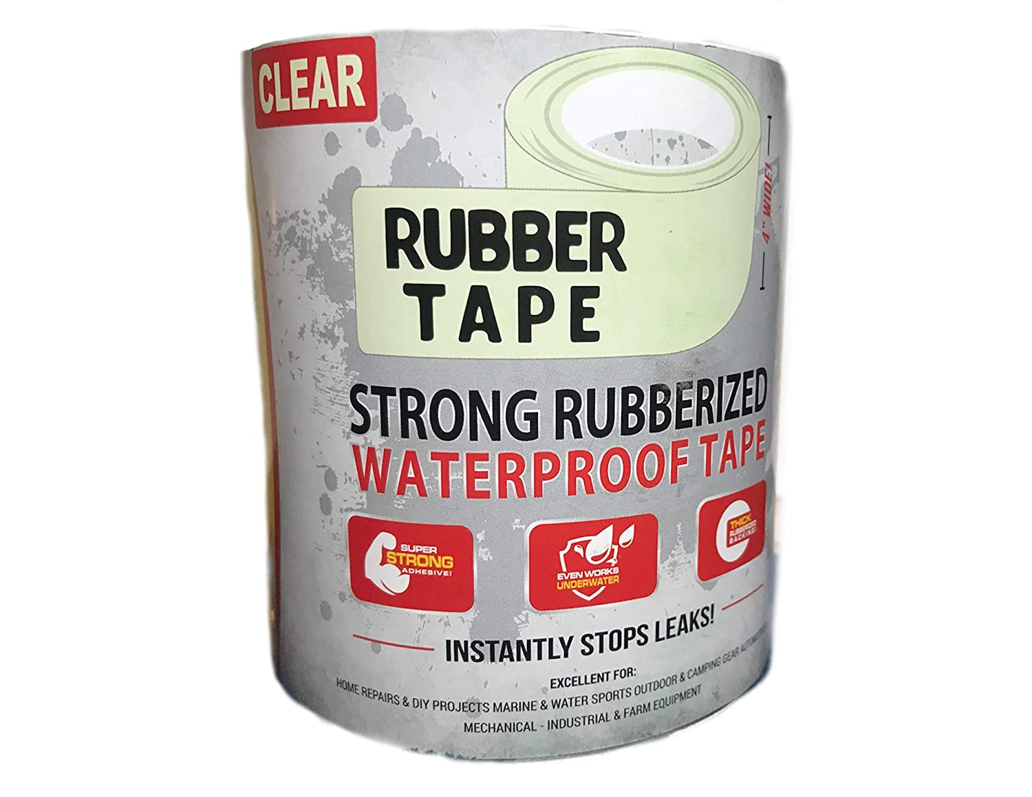Clear Rubber Tape 4 by 6 Rubberized Waterproof Flexable extreamly Durable
