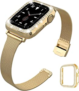 QVLANG Compatible for Apple Watch 42mm Band Series 3/2/1, Slim Stainless Steel Loop Mesh Strap with Women Bling Diamond Case for Apple Watch Series 3/2/1 (Gold, 42mm)