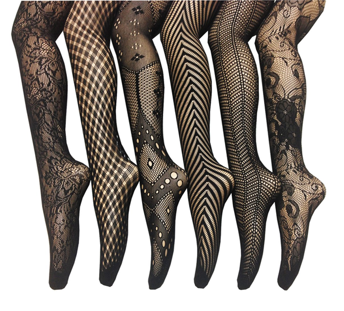 Frenchic Seamless Fishnet Lace Stocking Tights - Extended Sizes (Pack of 6) (M-L), Black