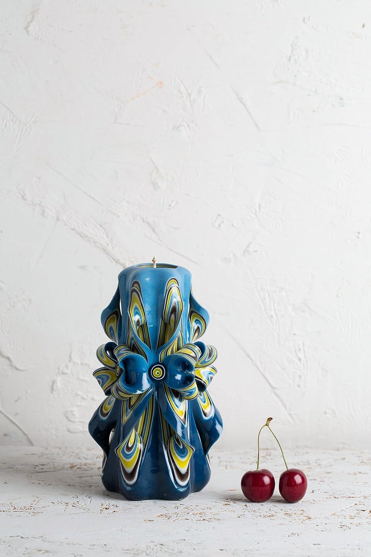 Arredo Interno Esclusivo Decorato A Mano EveCandles Candela Intagliata Azzurra Con Fiori Colori Splendenti