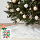 """KD KIDPAR 48"""" Faux Fur Christmas Tree Skirt for Holiday Tree Decorations with 5 Meters 50LED Copper Wire String – White…"""