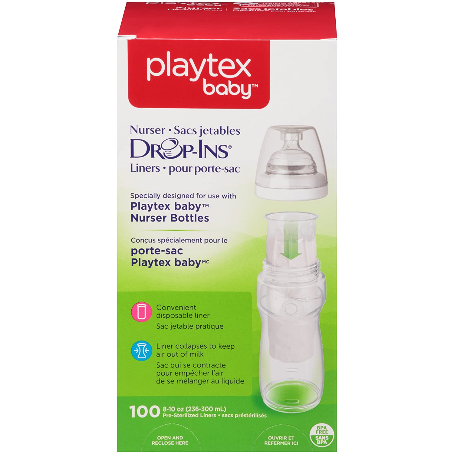 Playtex Baby Nurser Drop-Ins Baby Bottle Disposable Liners, Closer to Breastfeeding, 4 Ounce - 100 Count 5761