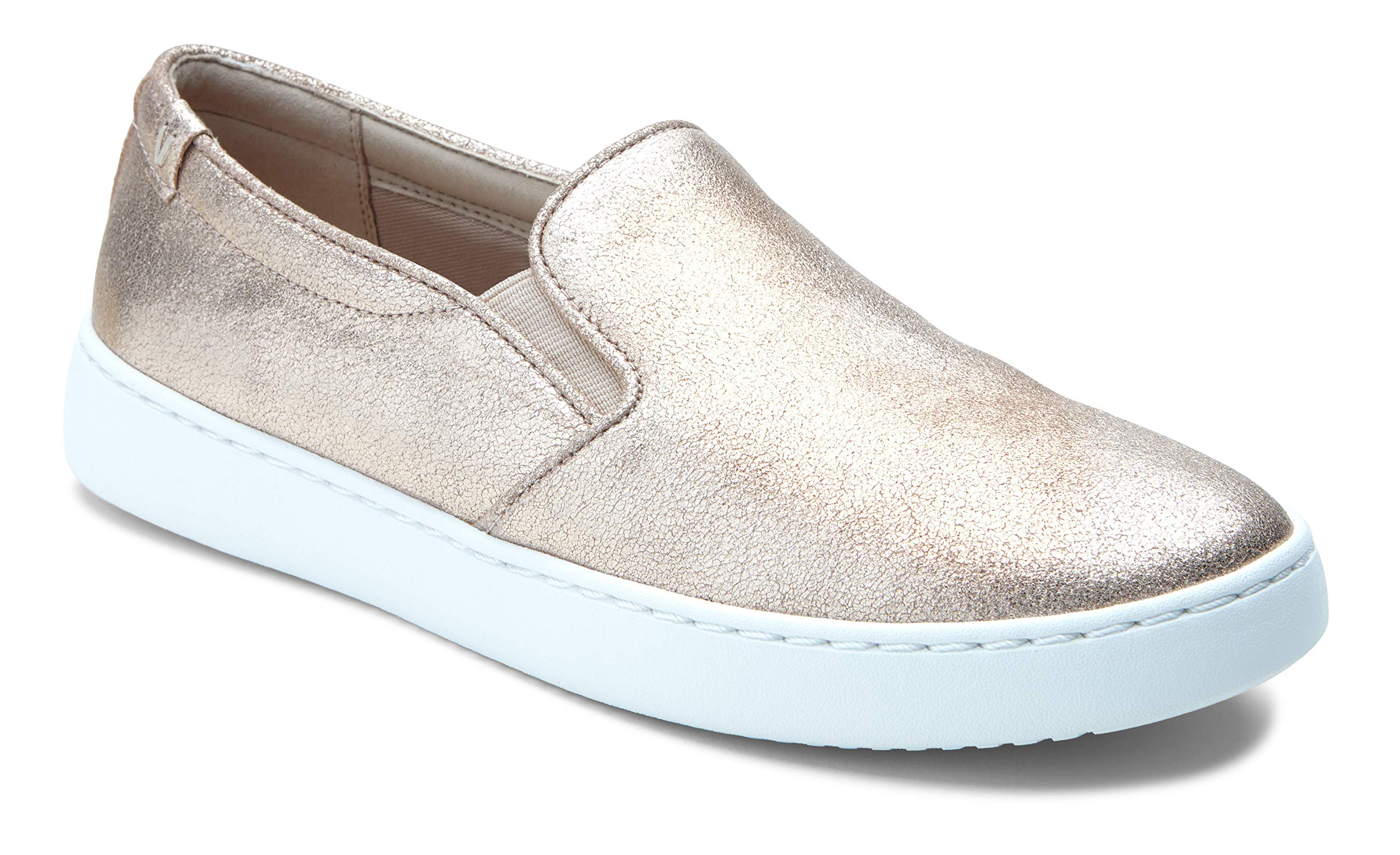 Vioinc Women's Pro Mahoney Avery Slip-on - Ladies Water Resistant Slip Resistant Service Shoes with Concealed Orthotic Arch Support Rose Gold Metallic Suede 6 W US
