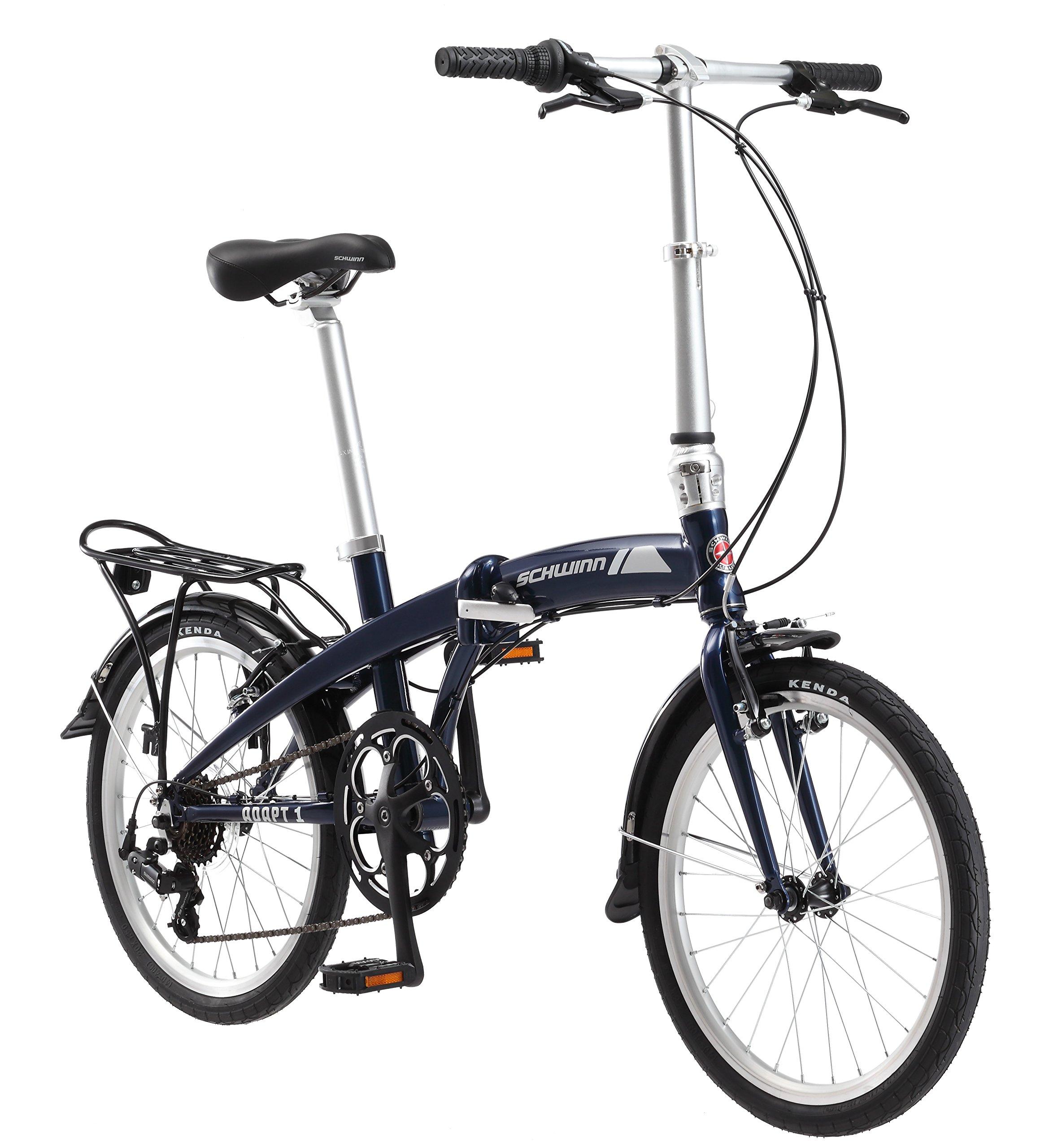 Schwinn Adapt 1 7 Speed Folding Bike, Gloss Navy, 16''/One Size/20'' by Schwinn (Image #1)