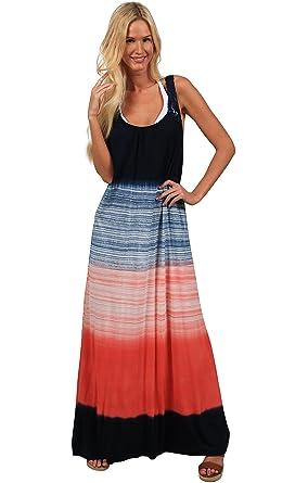 Ingear White Black Tie Dye Maxi Dress Summer Crochet Tank Racerback