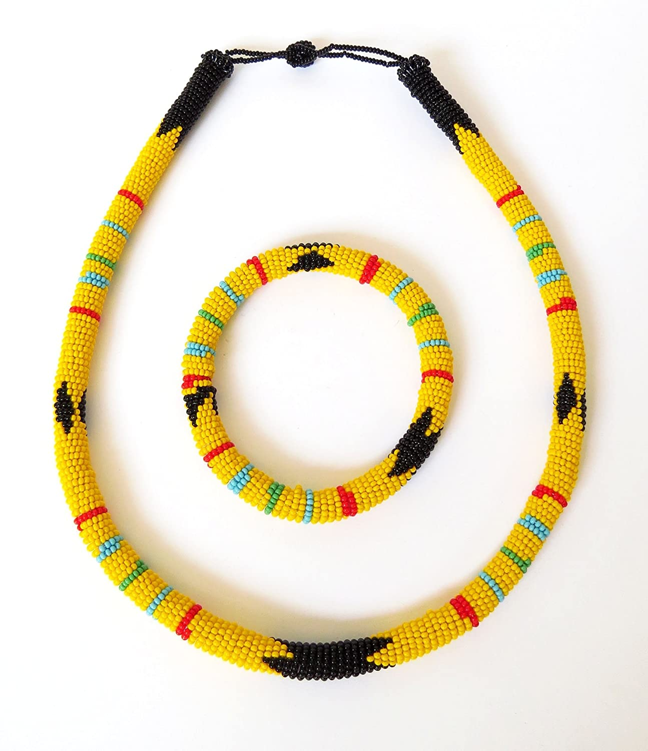 African Zulu beaded necklace and round bracelet set Yellow