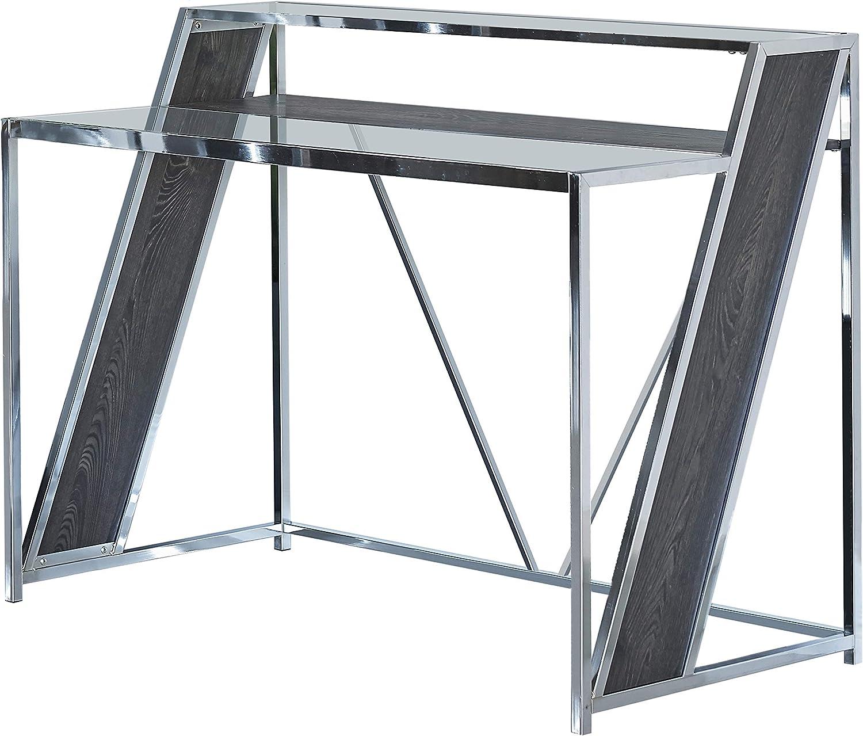 Coaster Home Furnishings Alamosa Glass Top Chrome and Clear Writing Desk