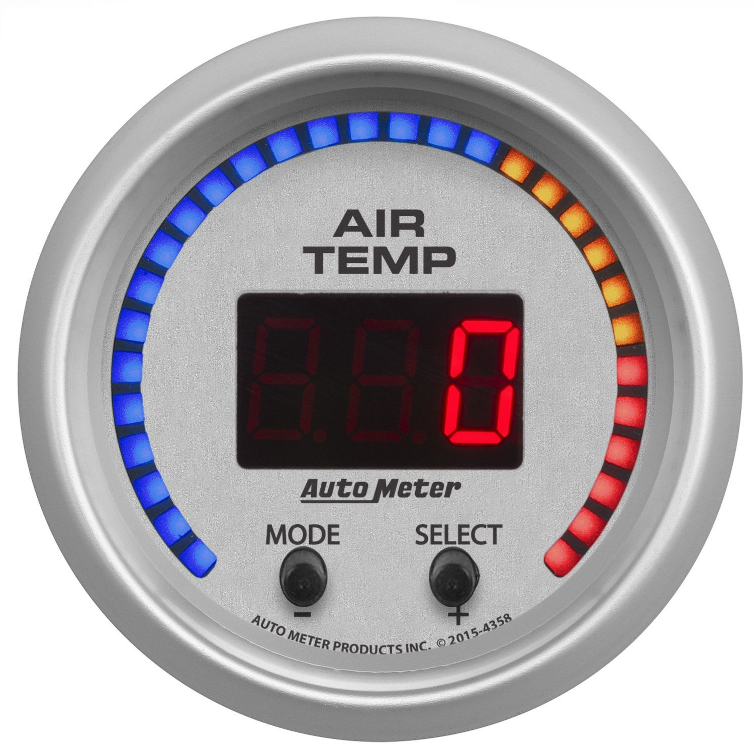 Auto Meter AutoMeter 4358 Gauge, Air Temp, Dual, 2 1/16'', 0-300ºf, Digital, Ultra-Lite