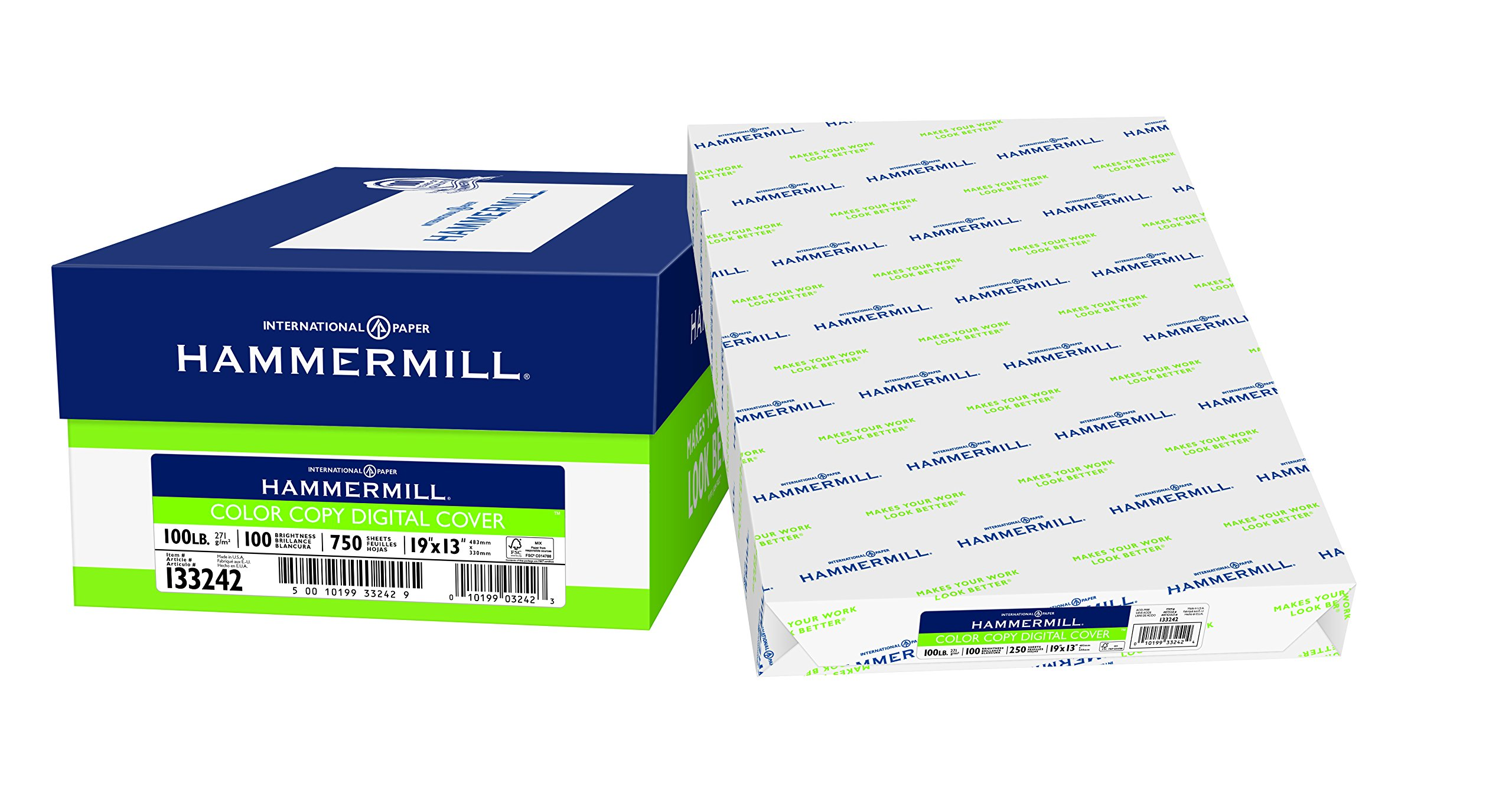 Hammermill Paper, Color Copy Digital Cover, 100lb, 19x13, 100 Bright, 750 Sheets / 3 Pack Case, (133242C), Made In The USA
