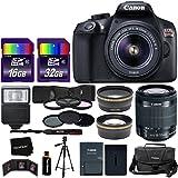 Canon EOS Rebel T6 Digital SLR Camera International Version + EF-S 18-55mm IS II Lens + 58mm Telephoto & Wide Lenses + Case + Flash + ND & UV Filter Set + 48GB SD Memory + Tripod + Full Accessory Kit