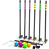 Franklin Sports Bluetooth Croquet - 6 Mallets and Balls - Carry Bag -Bluetooth Speaker