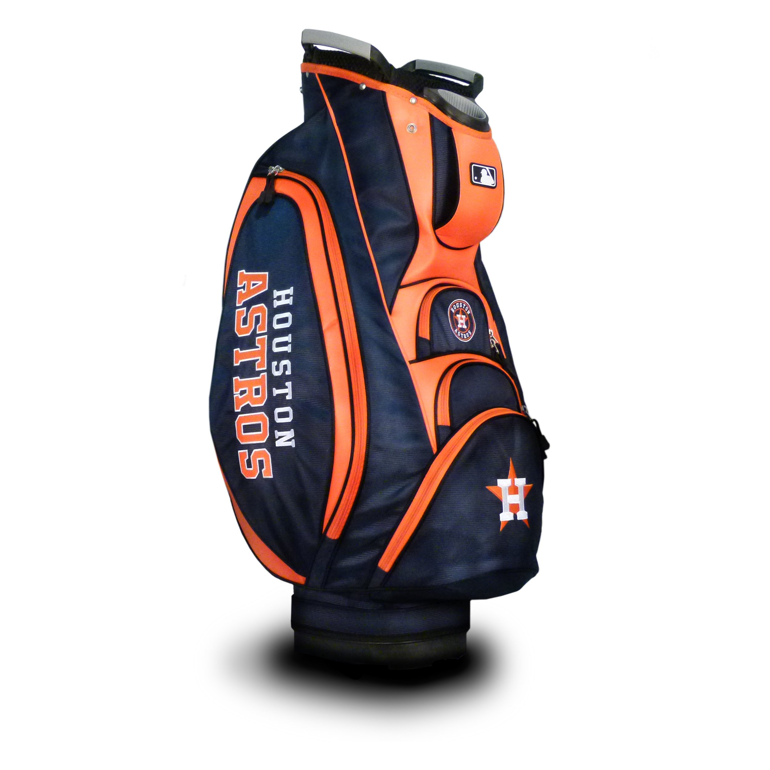 Team Golf MLB Houston Astros Victory Golf Cart Bag, 10-way Top with Integrated Dual Handle & External Putter Well, Cooler Pocket, Padded Strap, Umbrella Holder & Removable Rain Hood