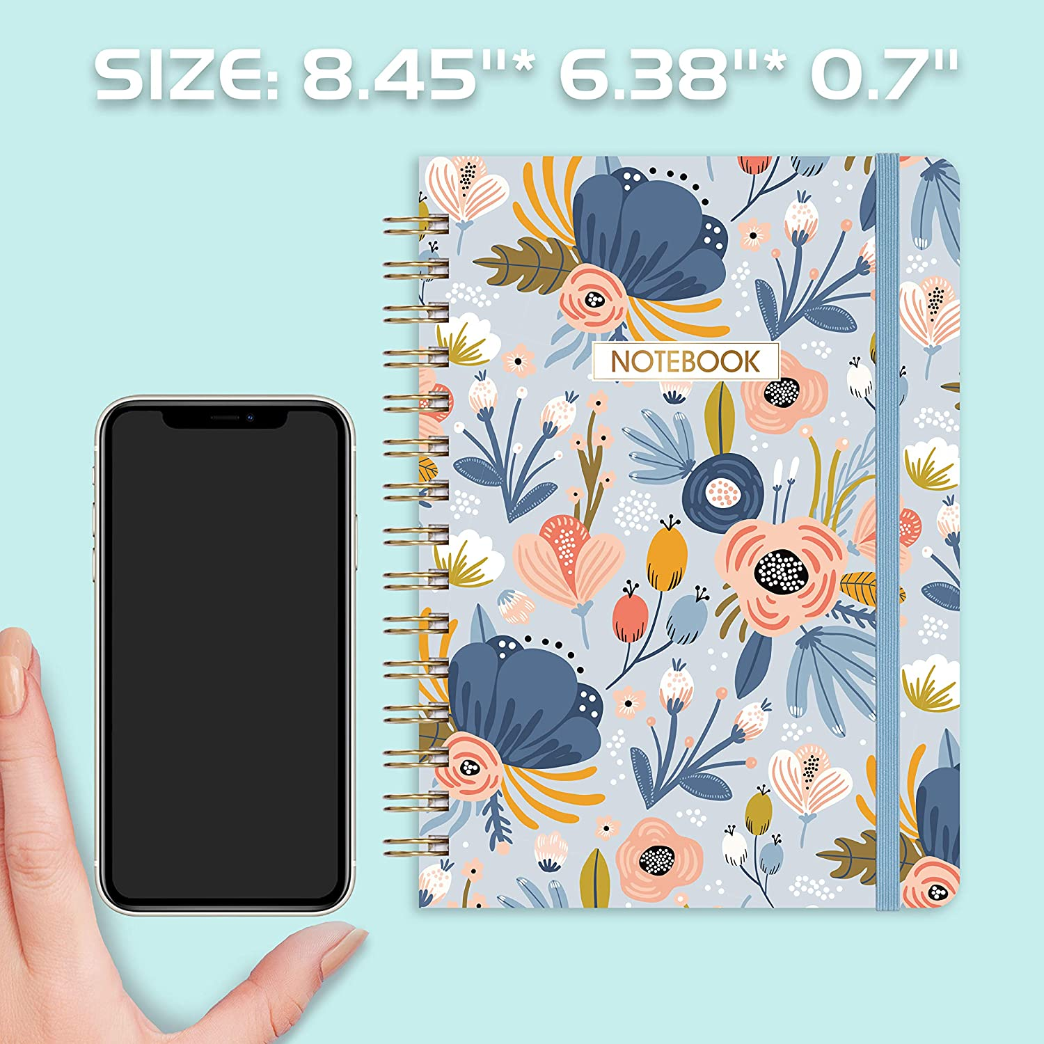 """Ruled Notebook/Journal - Lined Journal with Premium Thick Paper, 8.45"""" X 6.38"""", College Ruled Spiral Notebook/Journal, Banded with Exquisite Inner Pocket, Hardcover : Office Products"""
