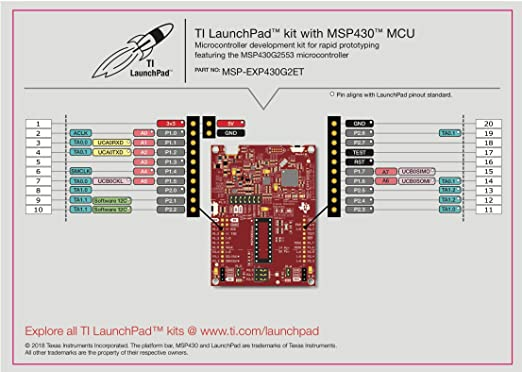 Texas Instruments Value Line MSP430 LaunchPad - MSP-EXP430G2ET, 14-/20-pin  DIP (N) Socket