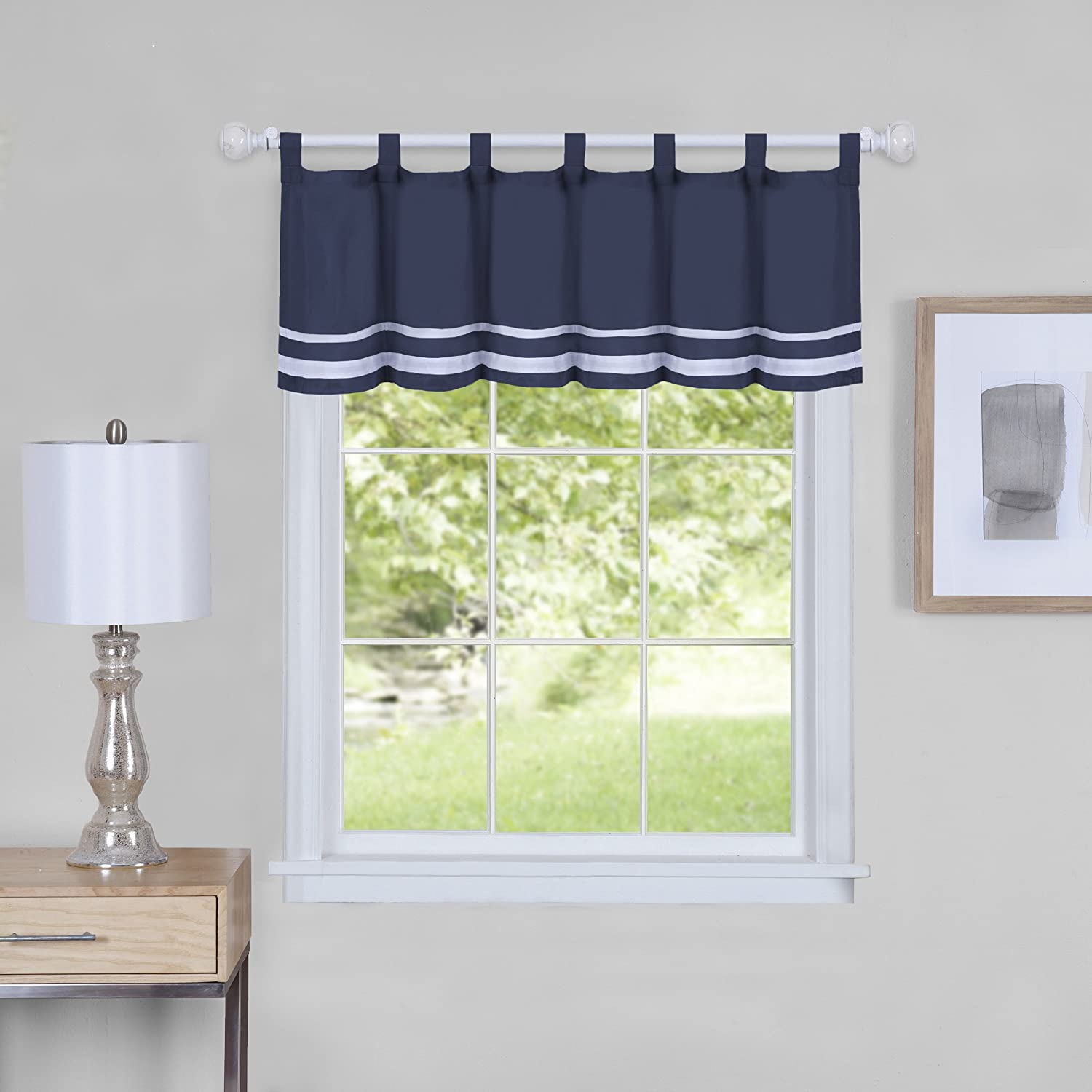 "Achim Home Furnishings Achim Home Imports Dakota Window Curtain Valance 58"" x 14"", Navy"
