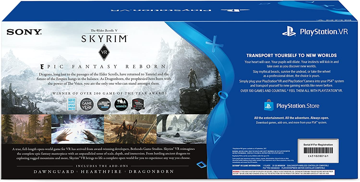 Amazon com: PlayStation VR - Skyrim Bundle [Discontinued