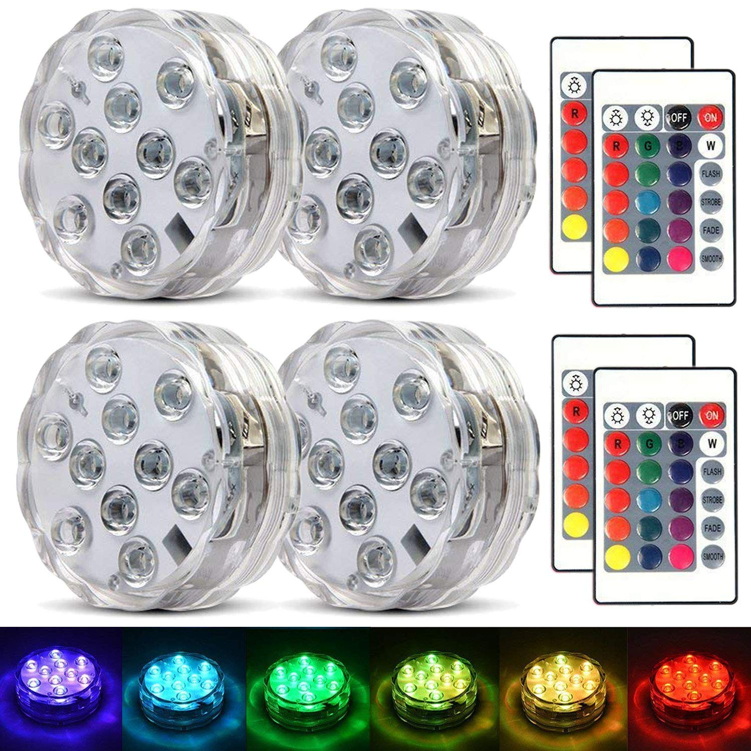 Submersible Led Lights Waterproof Multi-color Battery Remote Control, Party Perfect Decorative Lighting, Suitable for Aquarium Lights, Christmas, Halloween, Etc. IP68 Waterproof Rating (4Pack) by MOONBROOK