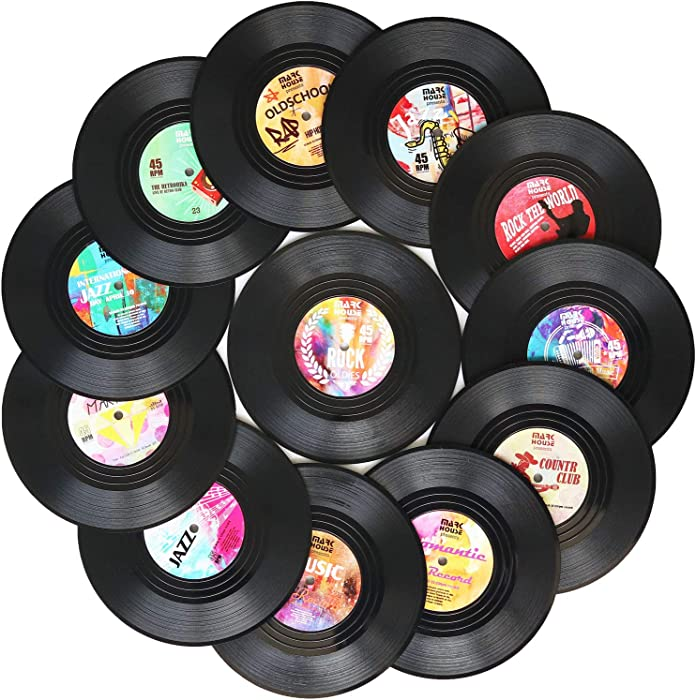 Funny Coasters for Drinks | Set of 12 Conversation Piece Sayings Vinyl Record Disk Music Drink Coaster | Housewarming Hostess Gifts, House Warming Present Decor Decorations Wedding Registry Gift Ideas