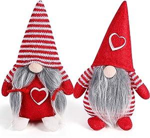 Handmade Couple Christmas Swedish Gnome Plush - 2 Pcs Scandinavian Tomte Nordic Plush Elf Toy Christmas Ornament Table Home Christmas Decorations (2 pcs - red)