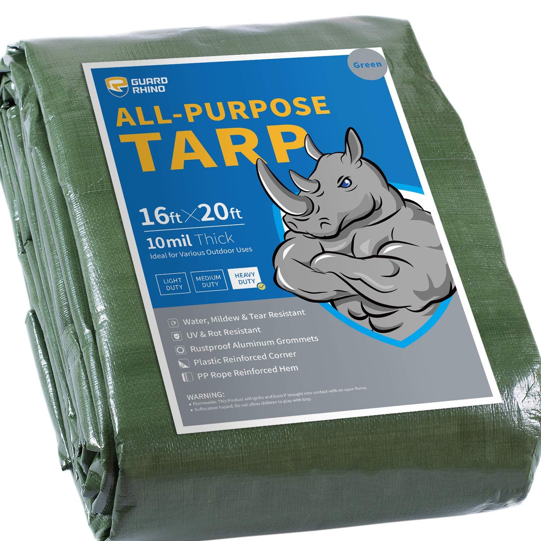 GUARD RHINO Heavy Duty Tarp 12x16 Feet Green Multi Purpose Thick Waterproof Poly Tarp Cover 10mil