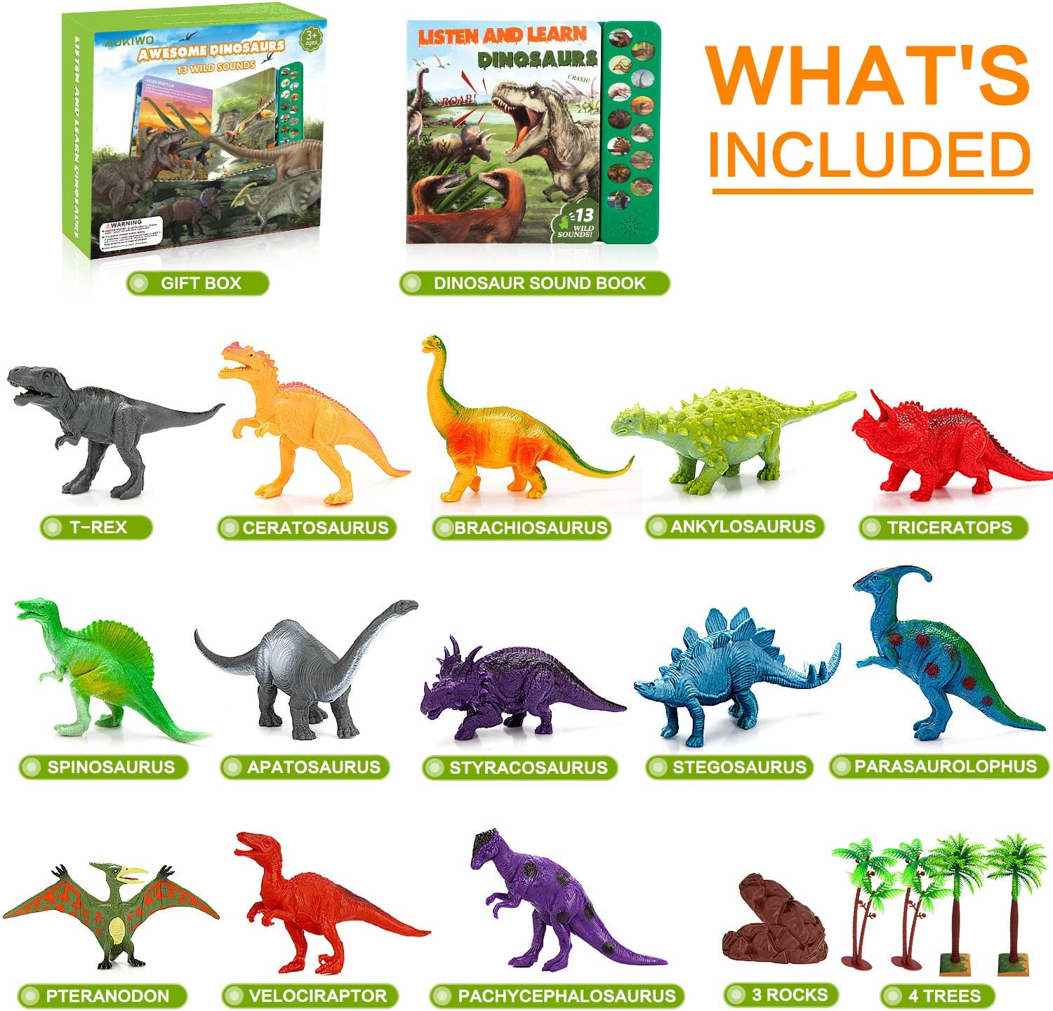 Dinosaur Toys for Boys and Girls Including T-Rex Triceratops Velociraptor Trees and Rocks Dinosaur Toys with Sound Book 21 Packs Realistic Dinosaurs Figures with Sound Book Best Gifts for Kids