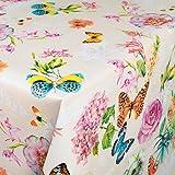 ANRO Wachstuch Wachstischdecke Wachstuchtischdecke abwaschbare Tischdecke Schmetterlinge Wiese Blumen Beige 120 x 140cm