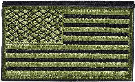 Parche de bandera táctica estadounidense verde OneTigris Militar de los Estados Unidos de América,